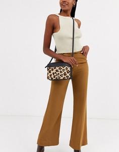 Кожаная сумка через плечо с леопардовым принтом Paul Costelloe-Черный