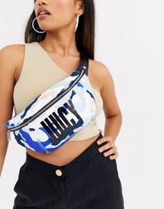 Сумка-кошелек на пояс с камуфляжным принтом Juicy Couture-Синий