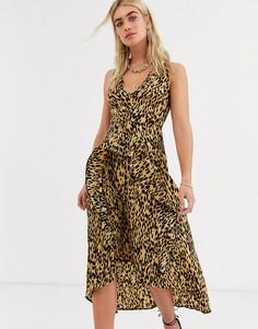 Бежевое платье миди с оборками спереди AX Paris-Светло-бежевый