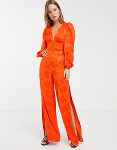 Оранжевый атласный комбинезон с цветочным рисунком ASOS DESIGN