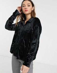 Атласная рубашка в стиле милитари с длинными рукавами Noisy May-Черный