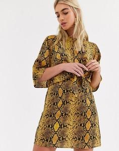 Платье со змеиным принтом и завязкой AX Paris-Мульти