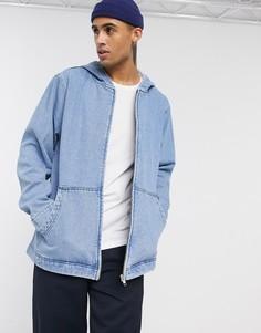 Голубая джинсовая куртка с капюшоном ASOS DESIGN-Синий