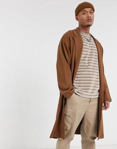 Коричневая легкая трикотажная куртка в стиле oversize от ASOS DESIGN-Коричневый