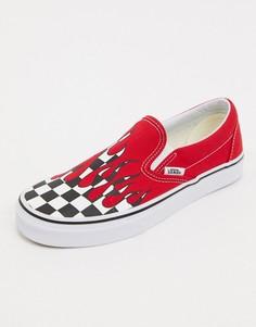 Красные кеды-слипоны с рисунком пламени и вставкой в клетку Vans Authentic-Красный