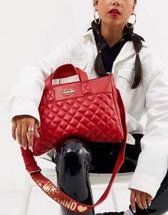 Стеганая сумка-тоут с логотипом Love Moschino-Красный