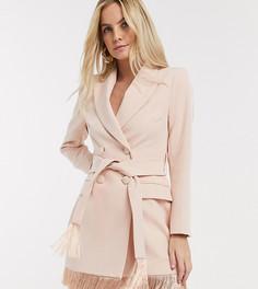 Розовое платье-смокинг с бахромой River Island Petite-Бежевый