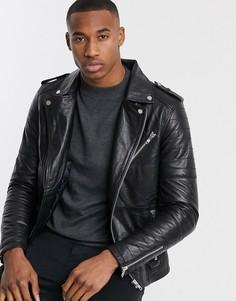 Кожаная байкерская куртка на молнии со стеганой отделкой Barneys Originals-Черный