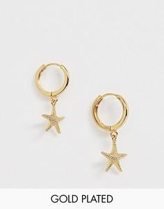 Позолоченные серьги-кольца с дизайном с морской звездой Orelia-Золотой