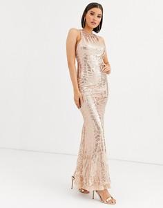 Платье макси с годе и отделкой пайетками Club L London-Золотой