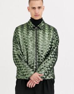 Зеленая куртка Харрингтон из пайеток ASOS DESIGN-Зеленый