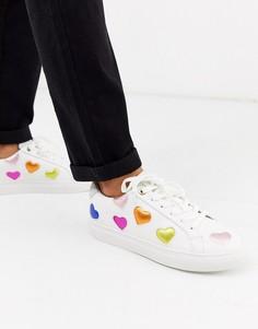 Кроссовки с разноцветными сердечками Kurt Geiger London-Мульти