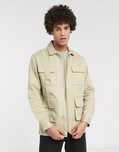 Рубашка классического кроя с карманами ASOS WHITE-Бежевый