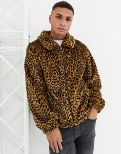 Спортивная куртка из искусственного меха с леопардовым рисунком Urbancode-Светло-коричневый