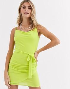 Платье со свободным воротом Love-Зеленый