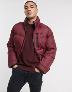 Бордовая дутая куртка Hollister-Красный