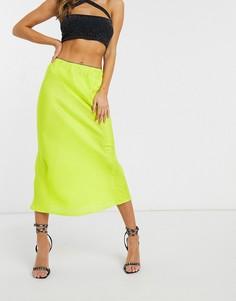 Атласная жаккардовая юбка миди QED London-Зеленый