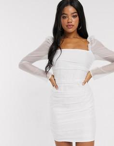 Белое сетчатое платье мини со сборками и пышными рукавами In The Style-Белый