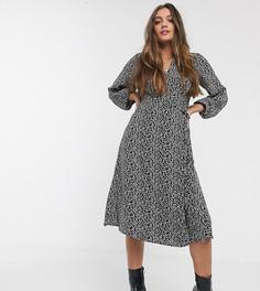 Черное платье миди с запахом и цветочным принтом New Look Petite-Черный