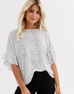Белая футболка в горошек с оборками на рукавах New Look-Белый