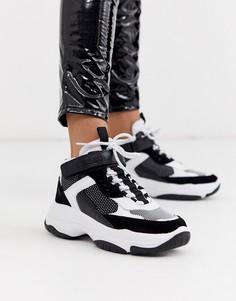 Черно-белые высокие кроссовки на массивной подошве Calvin Klein - Missie-Мульти