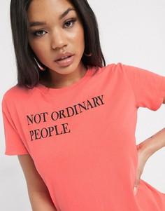 Розовая футболка с надписью Replay-Красный
