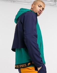 Сине-зеленая куртка с капюшоном и молнией Nike Training sport pack-Зеленый