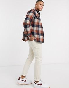 Стеганая рубашка навыпуск в клетку Burton Menswear-Оранжевый