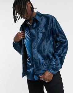 Синяя куртка в ковбойском стиле с леопардовым принтом ASOS EDITION-Синий