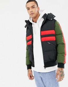 Черная дутая куртка с полосками Criminal Damage-Черный