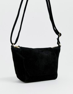 Замшевая сумка через плечо ASOS DESIGN-Черный
