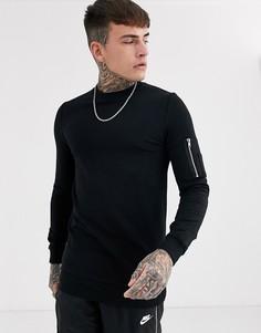 Черный облегающий свитшот с карманом MA1 ASOS DESIGN