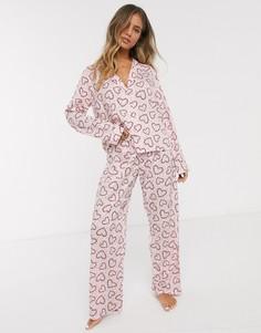 Новогодняя пижама из 100% модала ASOS DESIGN-Розовый
