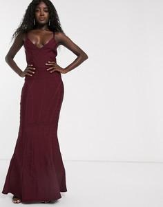 Бандажное платье макси с годе ягодного цвета Lipsy-Красный