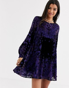 Бархатное платье мини Free People Mirror Mirror-Фиолетовый