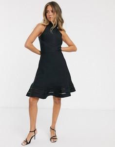 Черное приталенное платье со свободной юбкой Lipsy-Черный