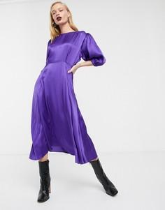 Атласное чайное платье миди с пышными рукавами ASOS WHITE-Фиолетовый