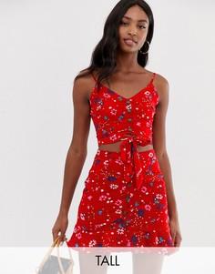 Топ на пуговицах с цветочным принтом и завязкой Parisian Tall-Красный