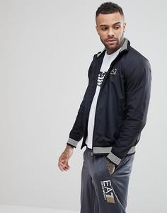 Черная куртка на молнии с отделкой EA7-Черный