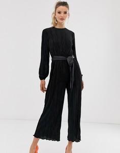 Плиссированный комбинезон с широкими брюками Closet-Черный