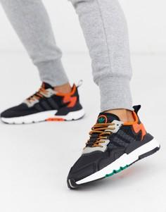 Черно-оранжевые джоггеры adidas Originals Nite-Мульти