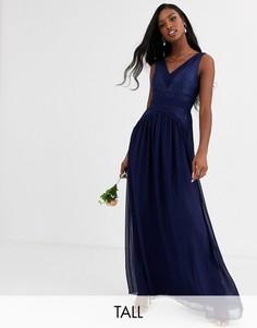 Платье макси с V-образным вырезом Little Mistress Tall-Темно-синий