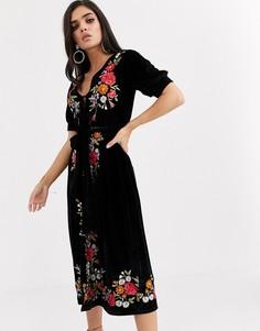 Бархатное чайное платье миди с вышивкой ASOS DESIGN-Черный