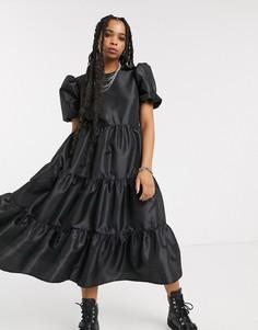 Свободное платье из тафты с объемными рукавами и открытой спиной Milk It vintage-Черный