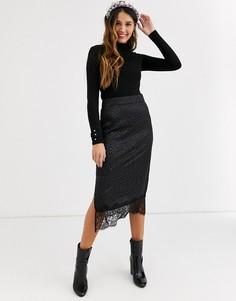 Черная юбка миди с кружевной кромкой QED London-Черный