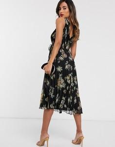 Платье миди с запахом, поясом, плиссированной юбкой и цветочным принтом ASOS DESIGN-Мульти