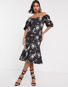 Платье миди с пышными рукавами и оборками ASOS DESIGN-Мульти