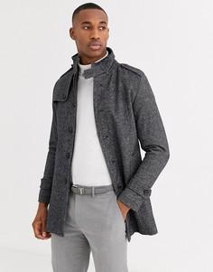 Серое шерстяное пальто с воротником-стойкой Selected Homme-Серый
