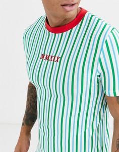 Футболка из органического хлопка в вертикальную полоску с вышивкой ASOS DESIGN-Зеленый