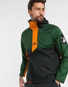 Дождевик цвета хаки с оранжевыми вставками Helly Hansen-Зеленый